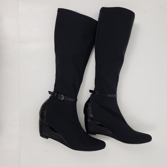 sock boots wedge heel